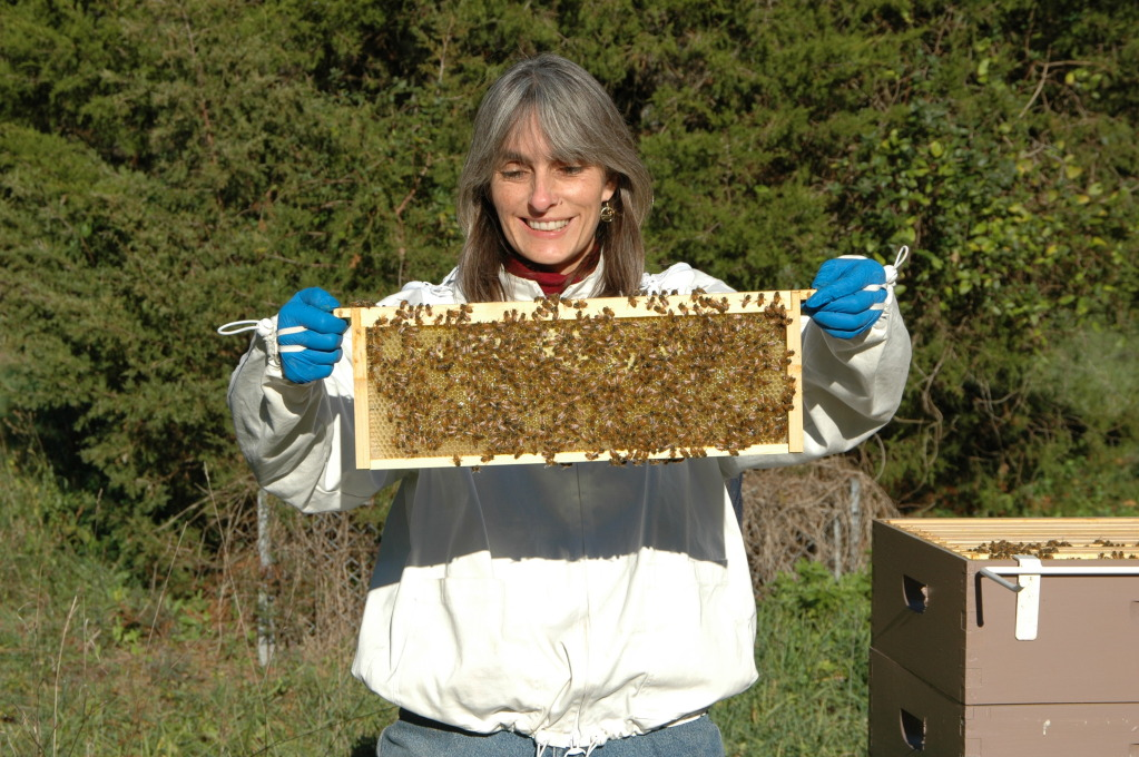 Cathy with Honey Bee Fram at Wolgast Tree Farm in Somerset, New Jersey