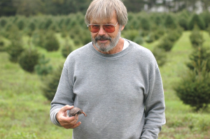 Len Wolgast Holding Young Box Turtle at Wolgast Tree Farm in Somerset, New Jersey