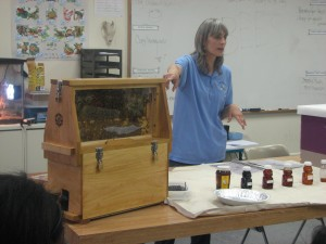 Cathy brought an observation hive and different types of honey when she visited with students in the Climate Change Classes at the Barack Obama Green Charter High School in Plainfield, NJ earlier his month.
