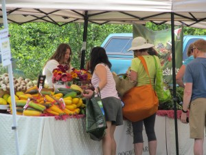 Customers at the Farm To Table Market at Duke Farms checking out the lovely produce offered by Dogwood Farms.