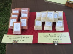 Some of our hand-crafted soaps on display.